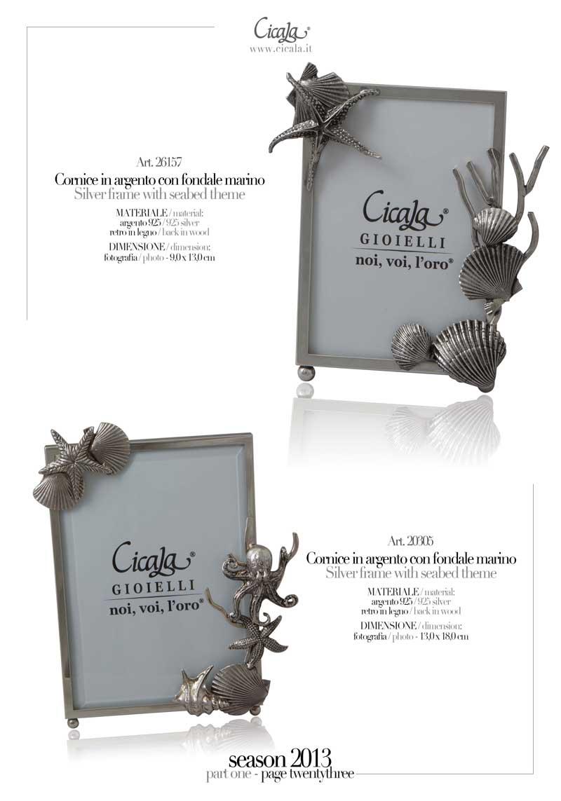 23 catalogo del lusso gioielli soprammobili argento cicala for Cornici piccole bianche