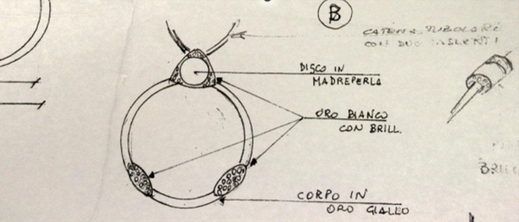 Disegno di un gioiello su commissione raffigurante una lente d'ingradimento a ciondolo