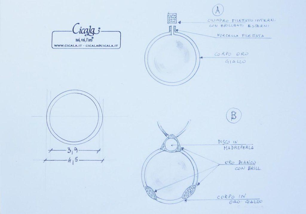 Disegno di un gioiello su commissione firmato Cicala