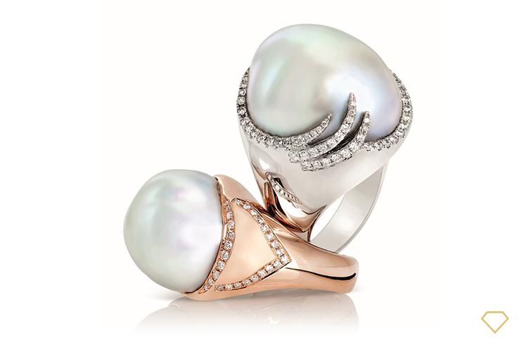 Gioielleria moderna in oro con perle scaramazze