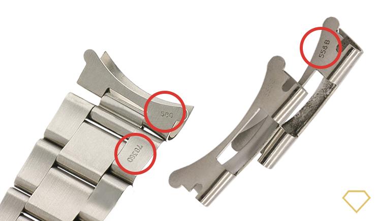 Dettaglio di incisioni Rolex originali su l bracciale e sui terminali