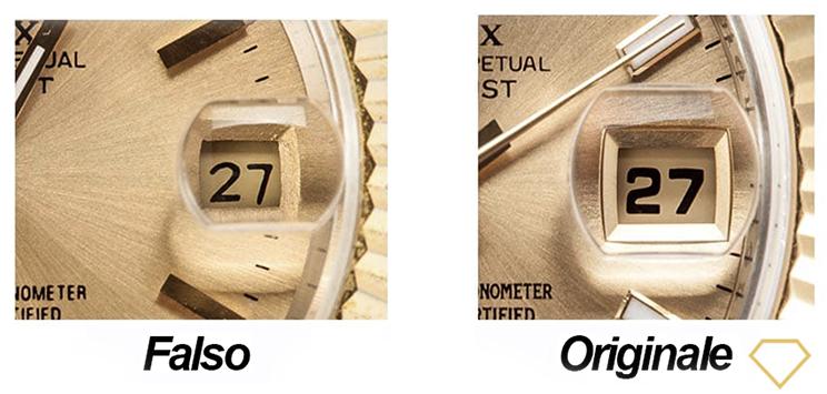 Lente magnificatrice di orologio Rolex falso e vero