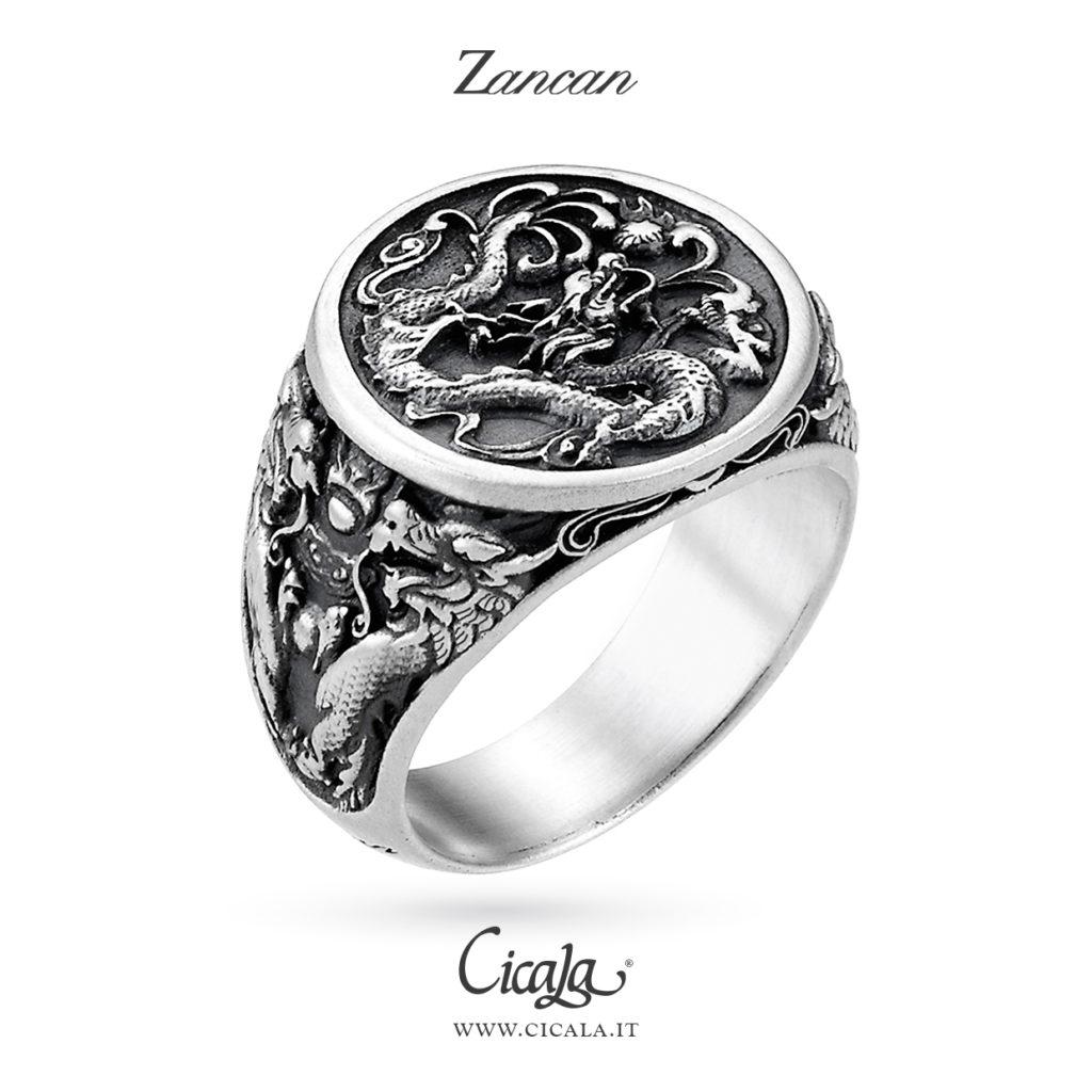 Anello in argento con dragoni di Zancan gioielli