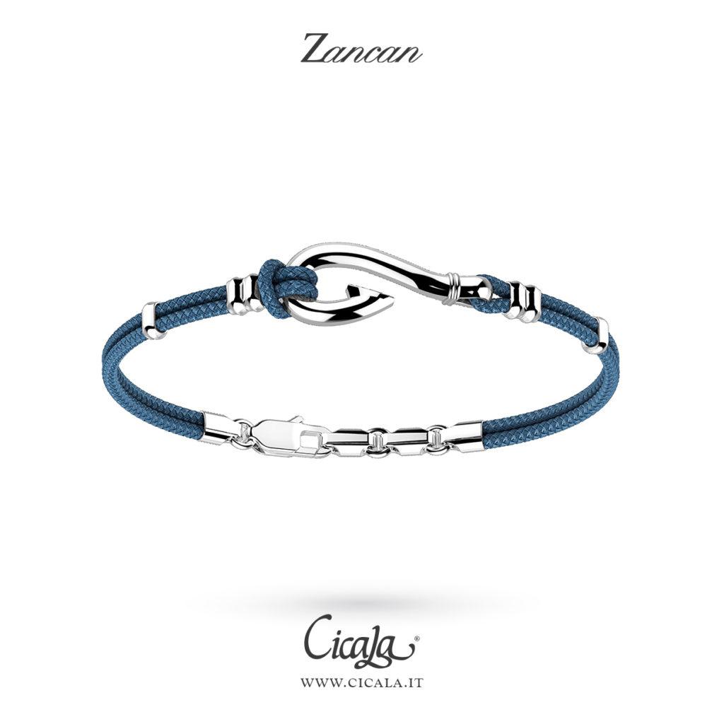 Bracciale da uomo con amo d'argento e corda in colore navi blu  di Zancan gioielli