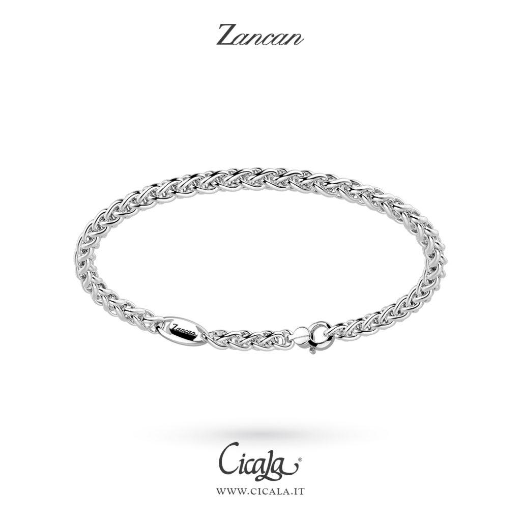 Bracciale d'argento da uomo con superficie lavorata e lucida di Zancan gioielli