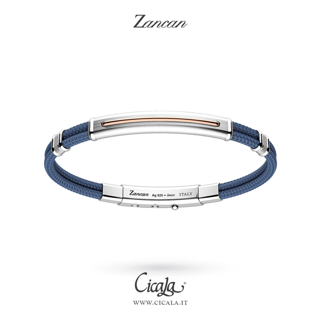 Bracciale da uomo con corda azzurra e placca lucida di Zancan gioielli