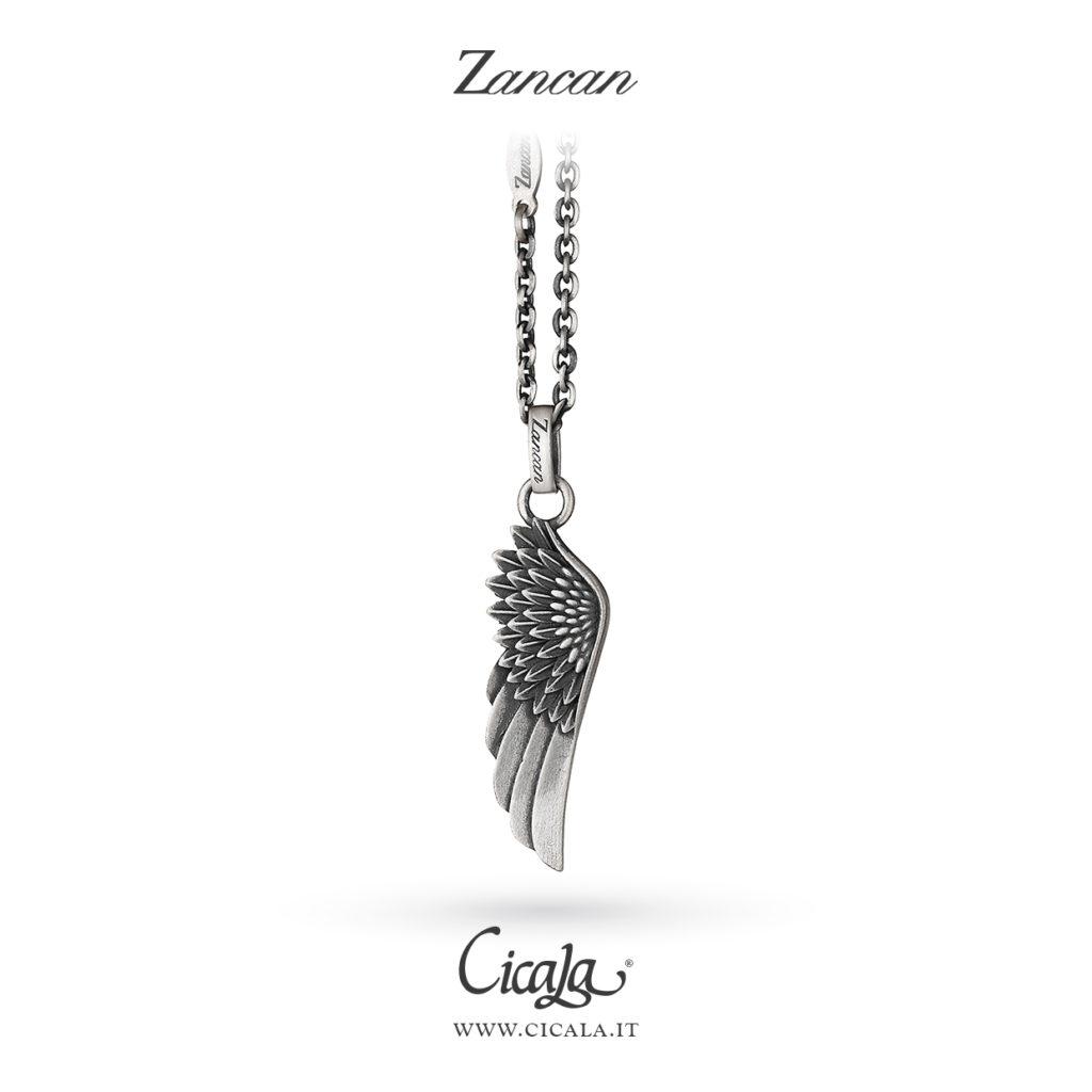 Collana in argento da uomo di Zancan gioielli con ciondolo con ala