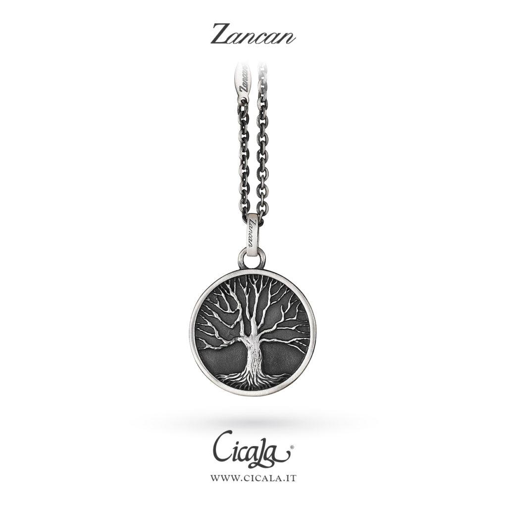 Collana da uomo in argento con ciondolo albero della vita brunito