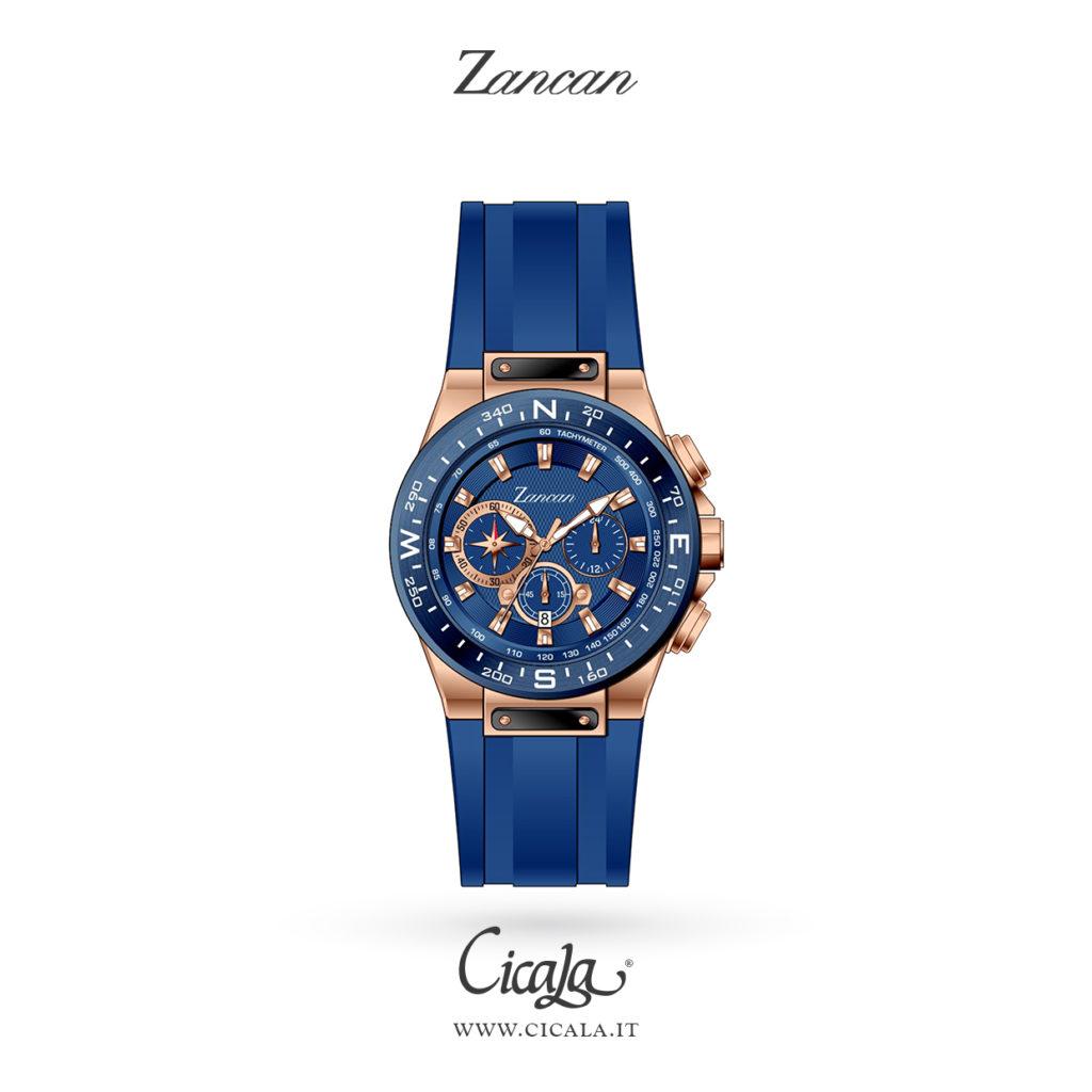 Orologio da uomo in acciaio rosa e quadrante e cinturino blu di Zancan gioielli