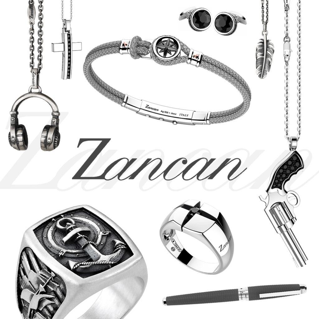 Composite di fotografie di gioielli Zancan per uomo con ciondoli, collane e anelli