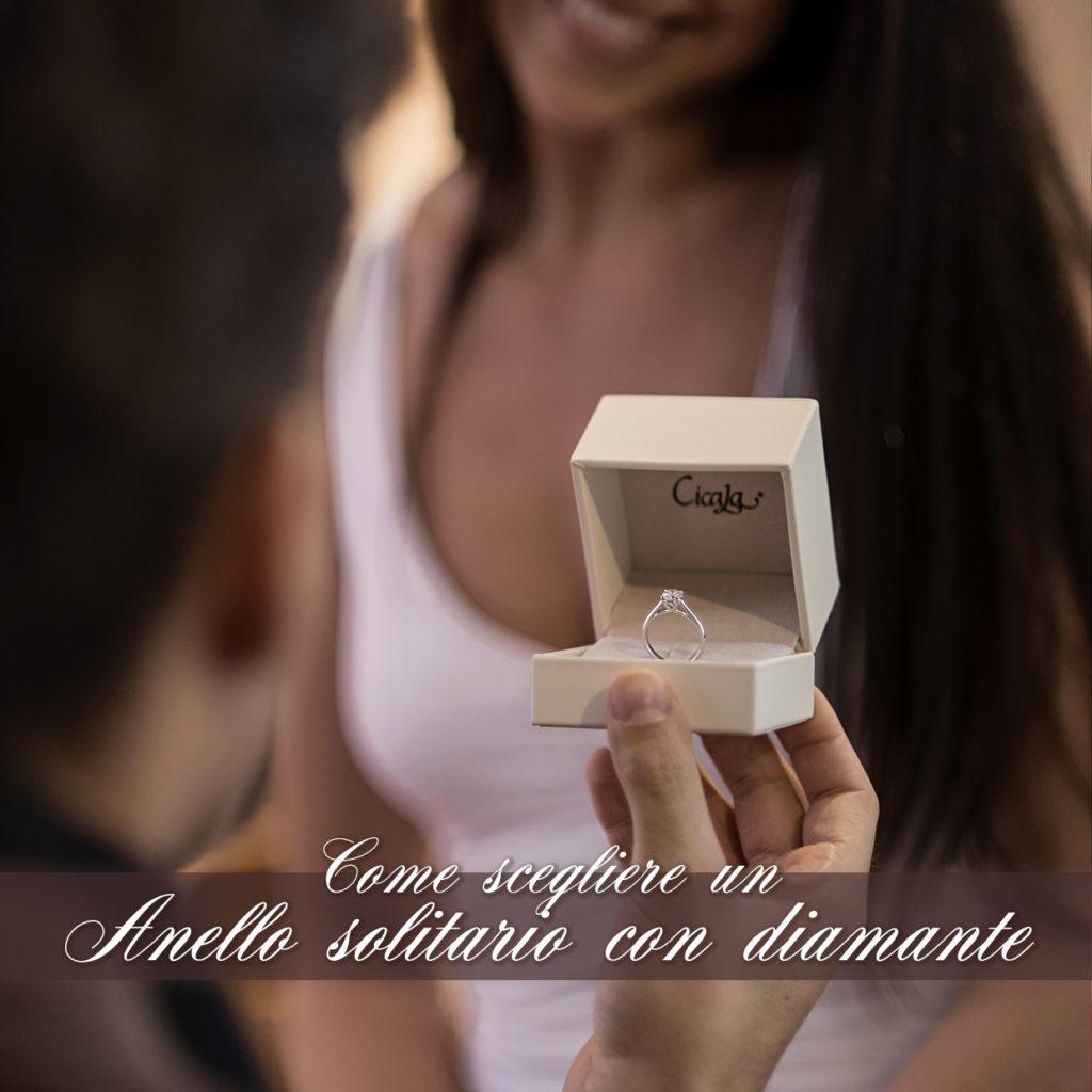 Foto di proposta di matrimonio con scritta come scegliere un anello di fidanzamento con diamante