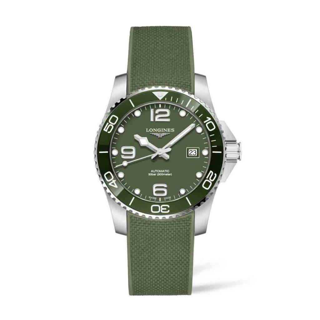 Longines Hydroconquest Verde con cinturino in caucciù e ghiera verde
