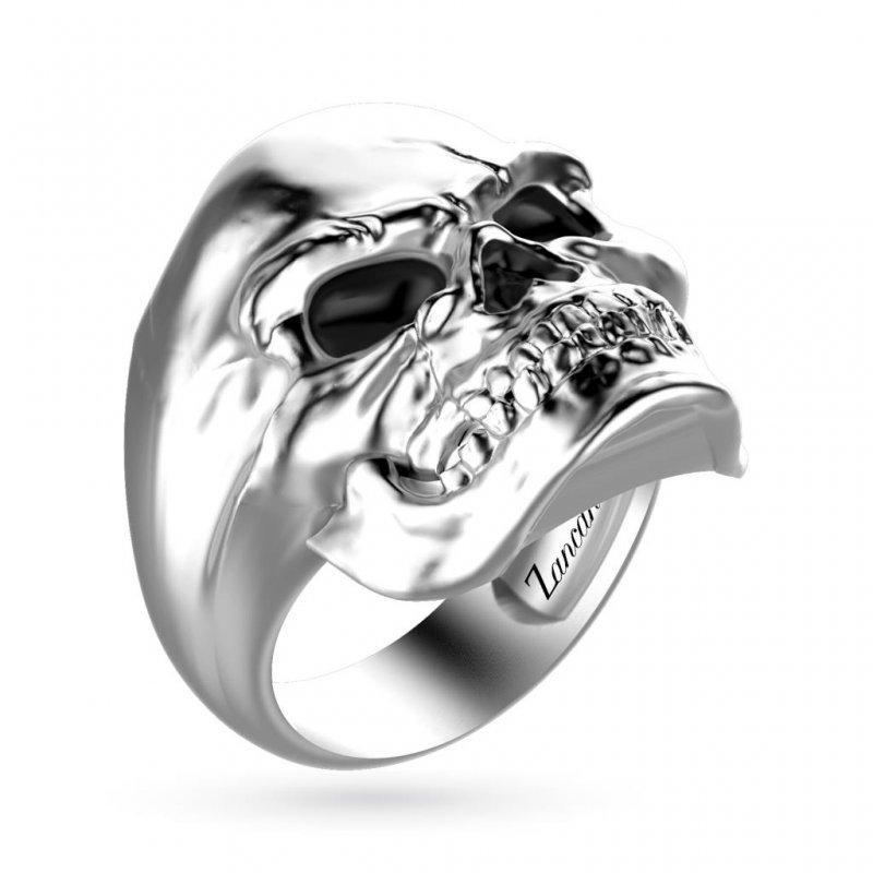 Anello da uomo con teschio in argento di Zancan.