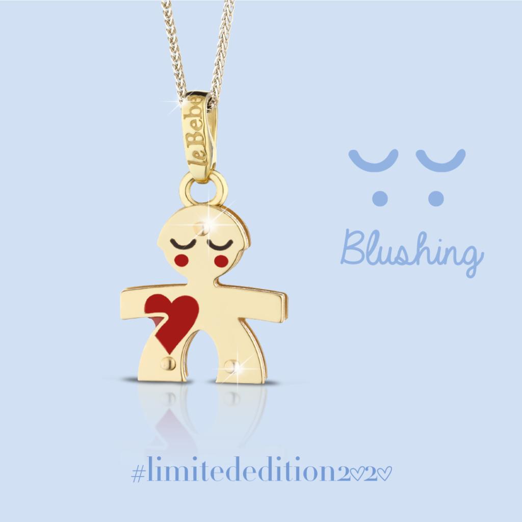 """Bimbo """"blushing"""" con cuore e occhi smaltati LeBebè Limited Edition 2020 in oro giallo 9kt"""