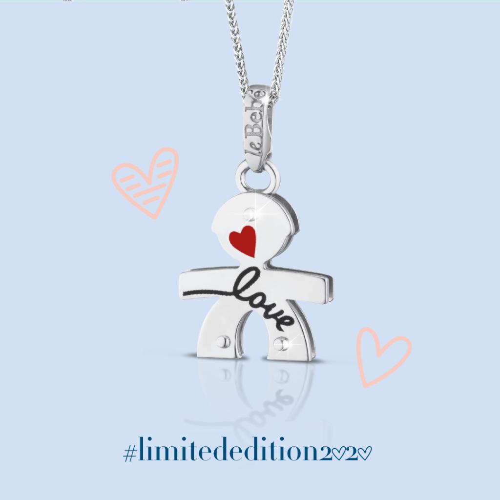 Bimbo con cuore rosso e scritta Love LeBebè Limited Edition 2020 in oro bianco 9kt