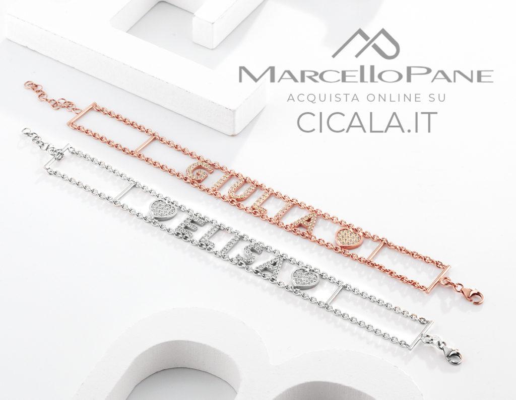 Coppia di bracciali di Marcello Pane con nomi in argento e argento placcato oro rosa