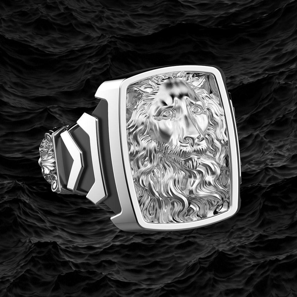 Anello Leone di San Lorenzo di Genova in argento 925