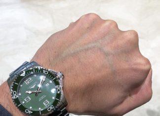 Longines Hydroconquest Verde indossato al polso